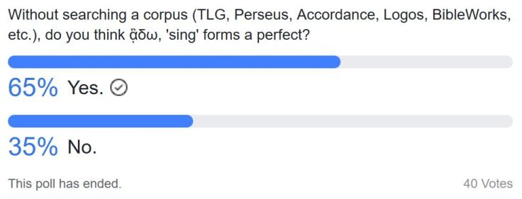 Poll on ᾂδω in the Perfect