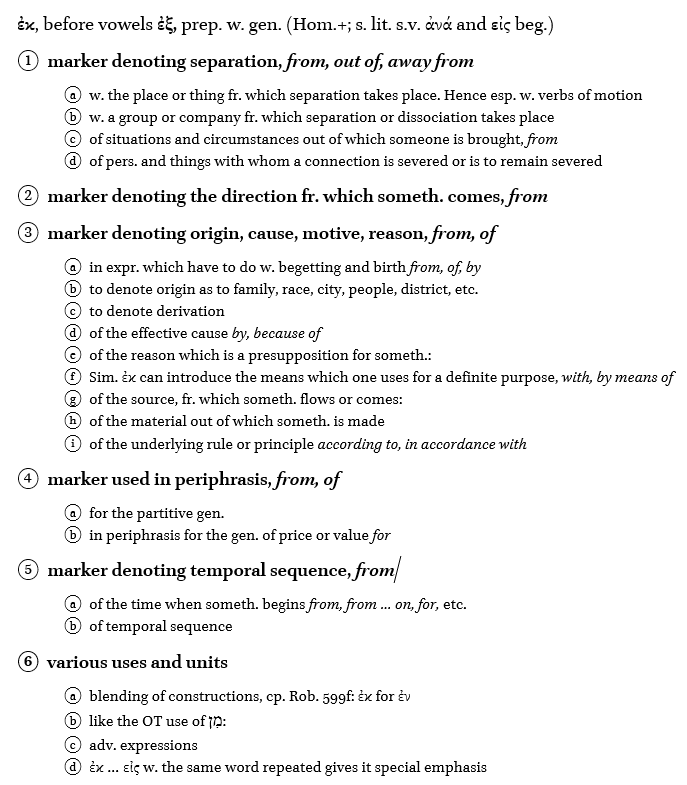 BDAG outline entry for the preposition ἐκ